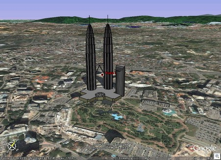 Klcc petronas in google earth 3d